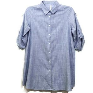 PerSeption Striped Button Up Blouse Tunic Large